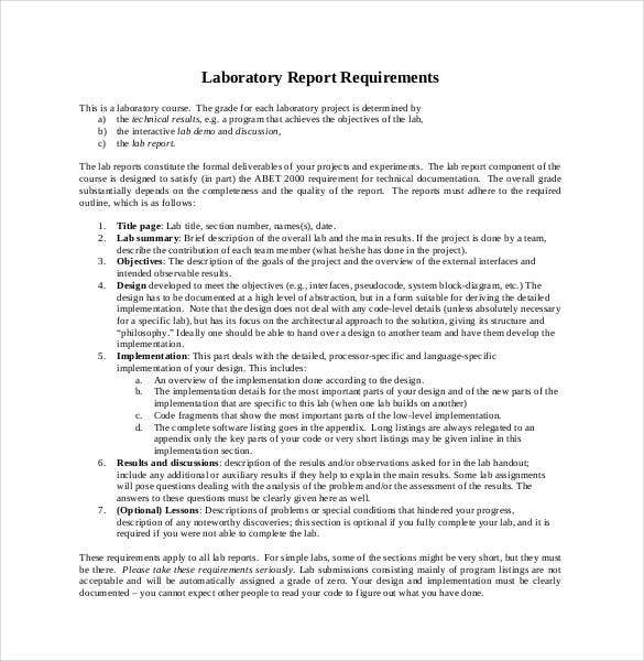 Lab Report Template 24 Free Word PDF Document – Layout of a Formal Report