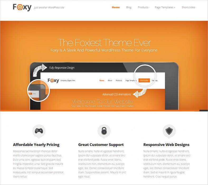 foxy wordpress theme 788x701