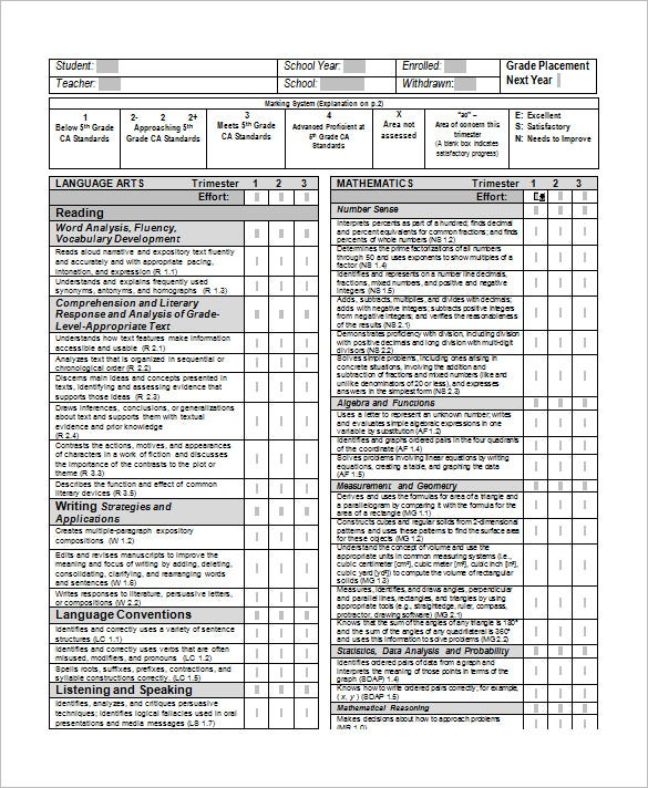 free 5th grade report card template download