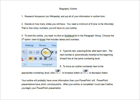 free biography outline template instruction download