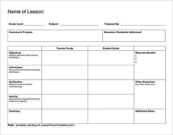 Lesson plan outline templates 11 free sample example for Toddler lesson plan templates blank