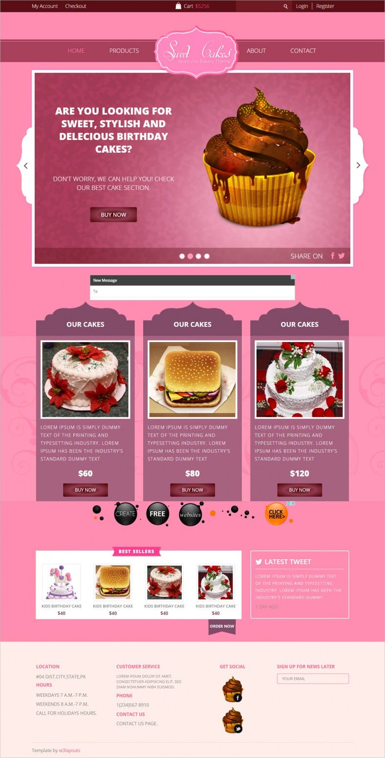 Free Bootstrap Responsive Web Template for Sweet Cakes