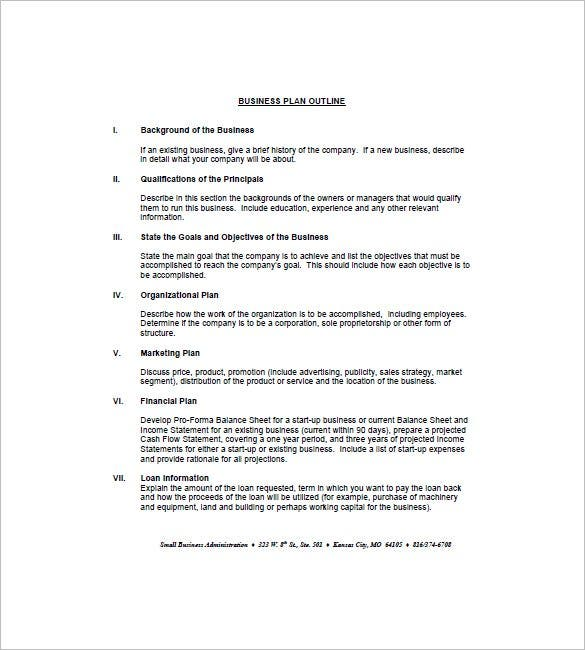 Business Plan Outline Template   Free Word Excel Pdf Format