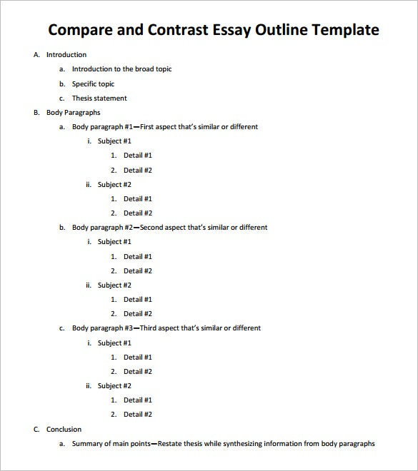 free compare and contrast essay outline template - Compare And Contrast Essay Outline Format