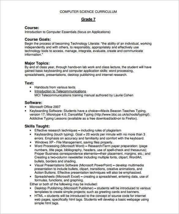 Free Computer Science Course Outline Template Printable
