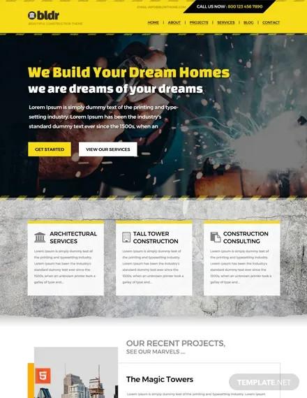 free construction company html5 css3 website
