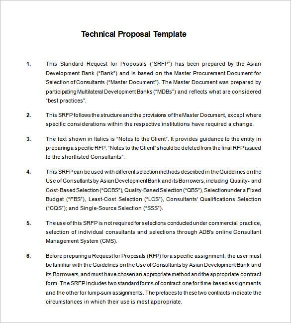 Technical Proposal Templates  BesikEightyCo