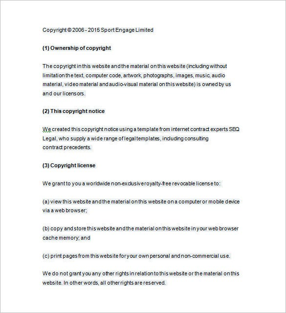 Copyright template dmca takedown notice template for Copyright contract template free