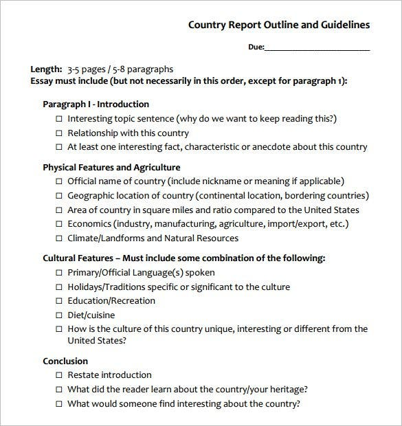 free country report outline template example download