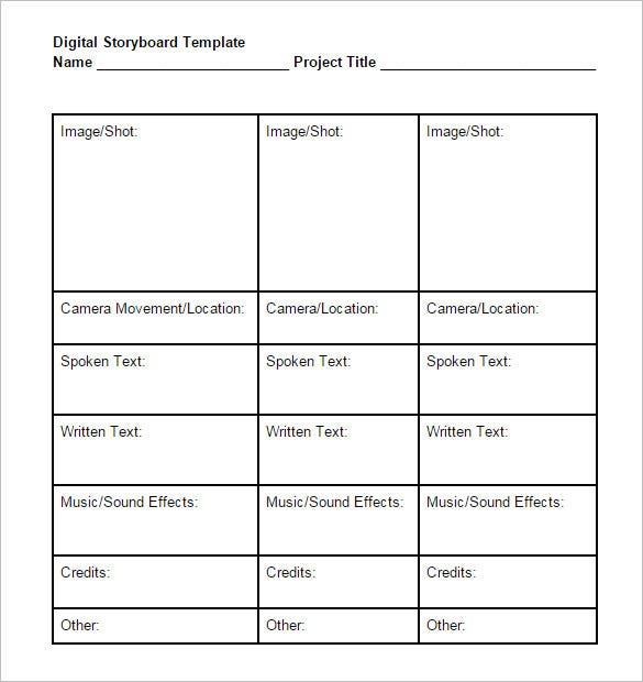 Digital Storyboard Template   Free Word Excel Pdf Ppt Format