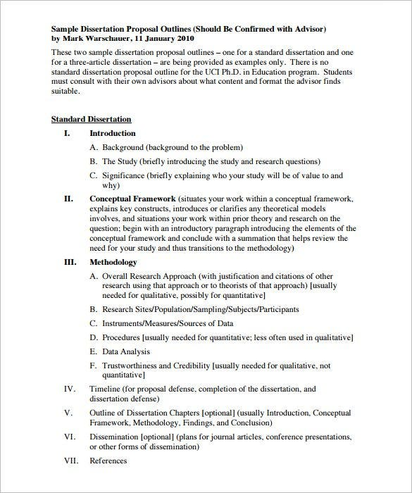 Proposal Outline Template   Free Sample Example Format