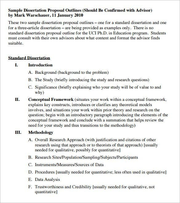 dissertation prospectus outline Guidelines for the dissertation prospectus stephen c behrendt the dissertation prospectus is the formal document you present to your phd supervisory.