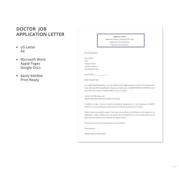 free doctor job application letter template