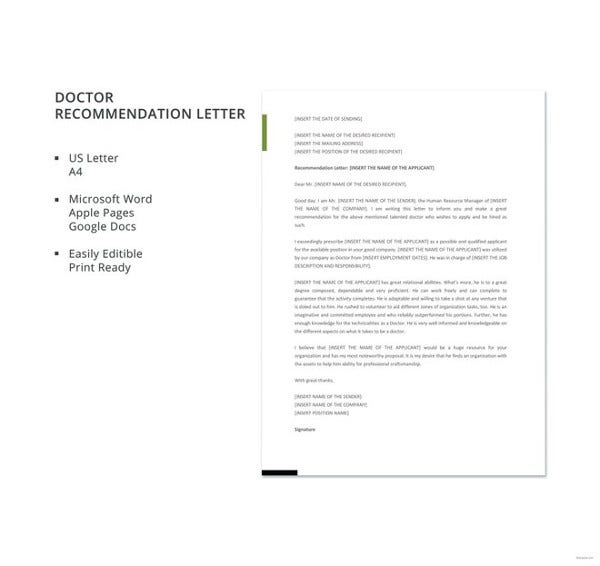 free doctor recommendation letter template1
