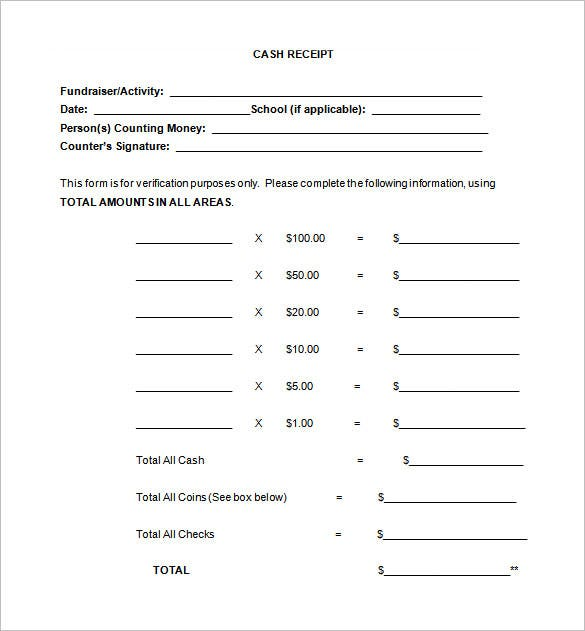 Receipt Template 90 Free Printable Word Excel PDF Format – Cash Receipts Template