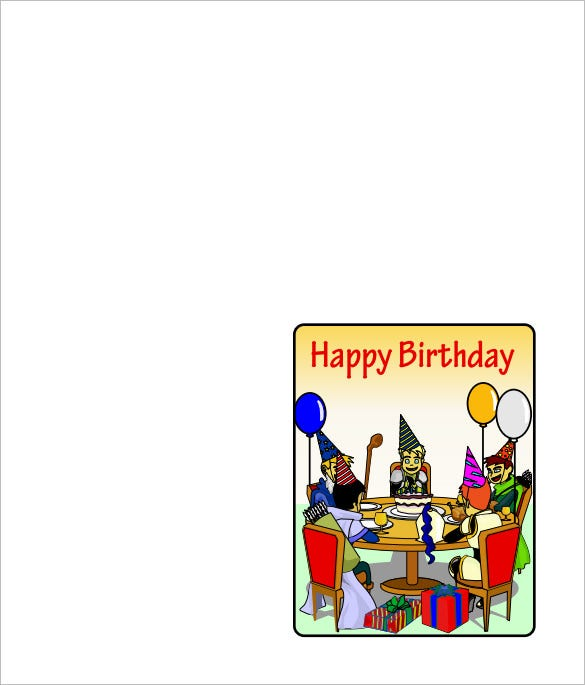 free download quarter fold birthday card template in pdf