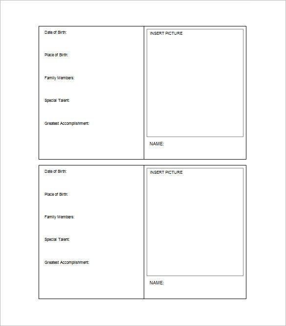 Free Download Trading Card Template In Word Format Nice Design