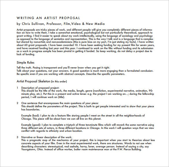 free download writing a artist proposal pdf