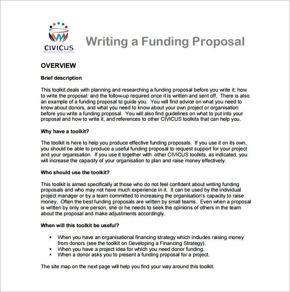 this writing a funding proposal sample template will allow you to include details such uses of toolkit description etc its layout has a space near the - How To Write A Proposal
