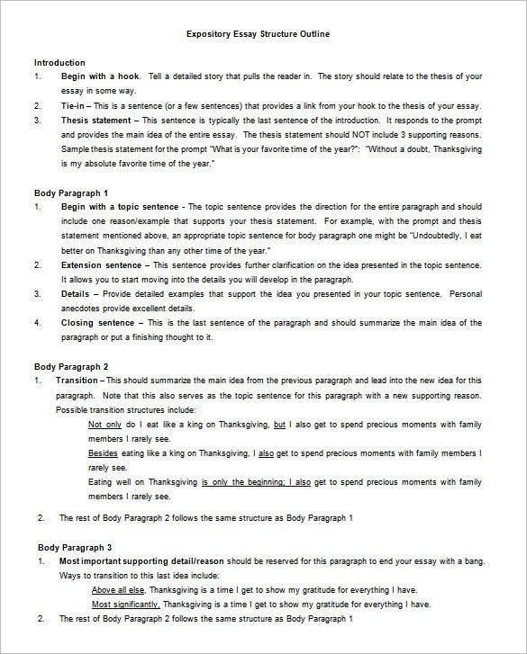 free expository essay outline template word doc - Essay Structure Format