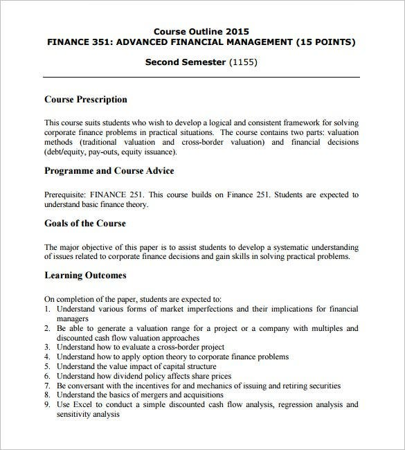 training course outline template 12 free sample example format