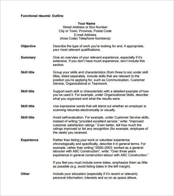 High Quality Free Functional Resume Outline Template PDF