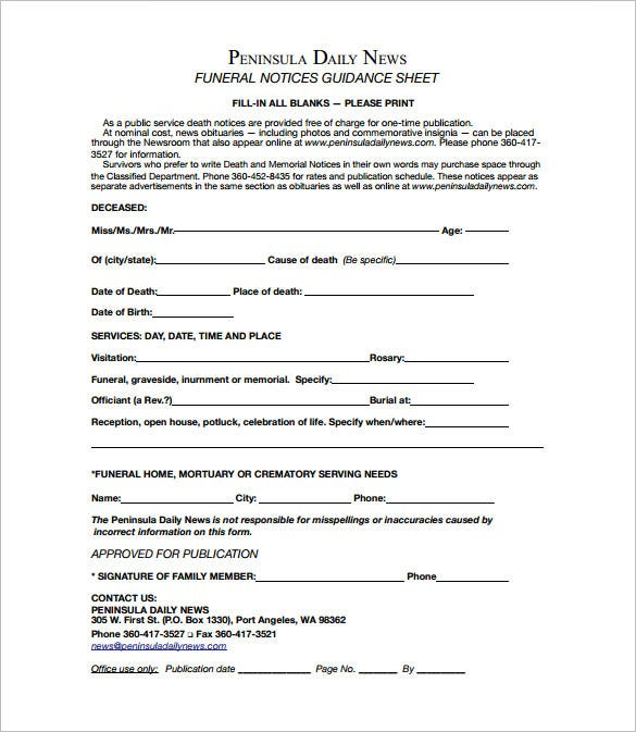 free funeral notice guidance pdf download
