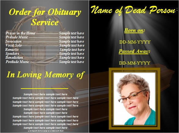 Obituary Layout  Free Printable Obituary Program Template