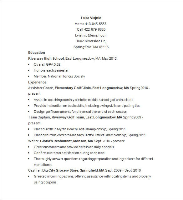 Free Golf Caddy Resume Sample  Basic Skills Resume Examples
