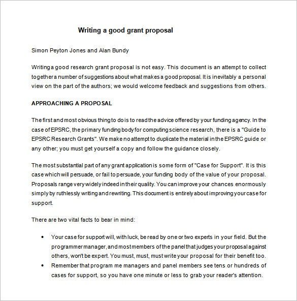 free grant writing proposal word download