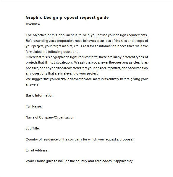this graphic design proposal template asks you to answer questions such as the target demography of the design predetermined budget for the project etc