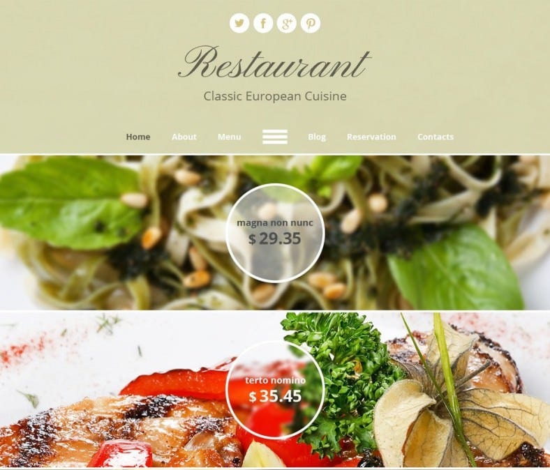 free html5 theme for restaurant site 788x674