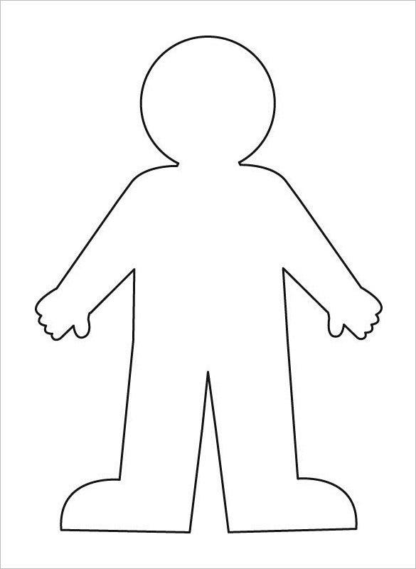 free human body outline for kids template download