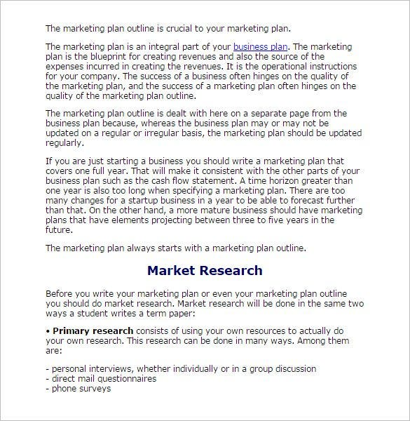 8 research paper outline templates doc excel pdf for Market research document template