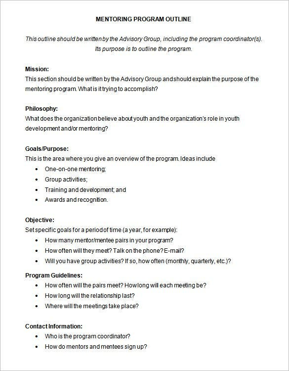 Program Outline Template   Free Sample Example Format