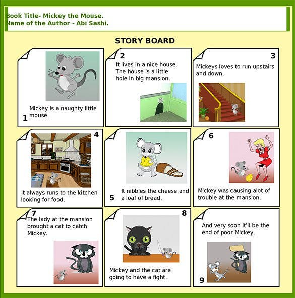 free mickey the mouse story board template sample