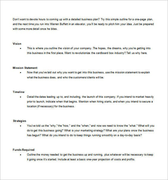 free one page business plan template
