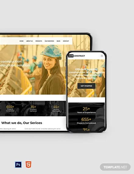 free one page construction website