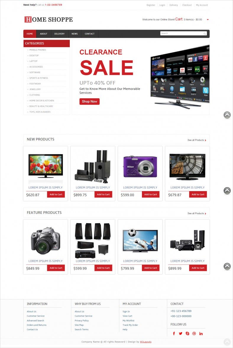 free online shopping ecommerce mobile website template 788x1175