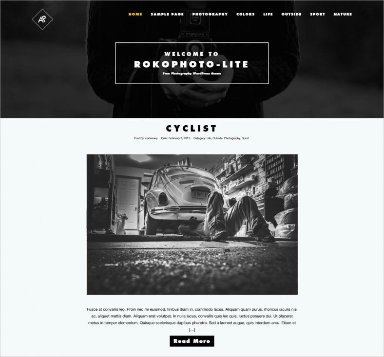 Free Photography WordPress Template