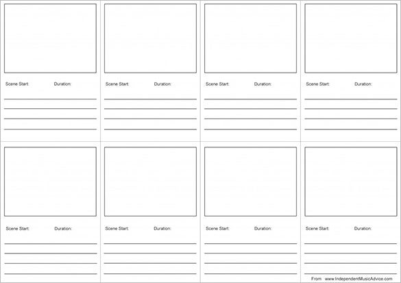 free printable storyboard template for music video