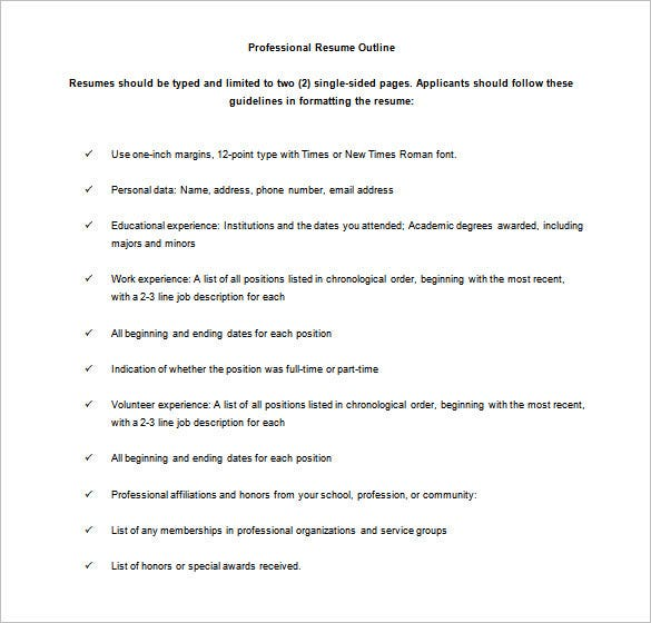 free professional resume outline sample - Resume Outline Example