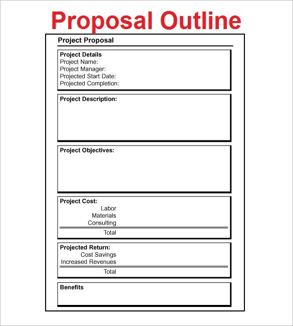 Proposal Outline Template 9 Free Free Word PDF Format Download – Word Project Proposal Template