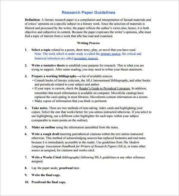 outline format of a research paper