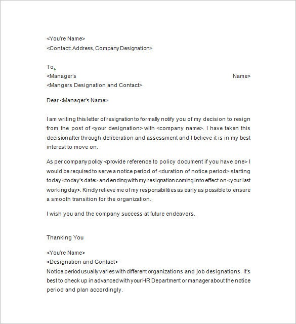 free resignation notice letter template