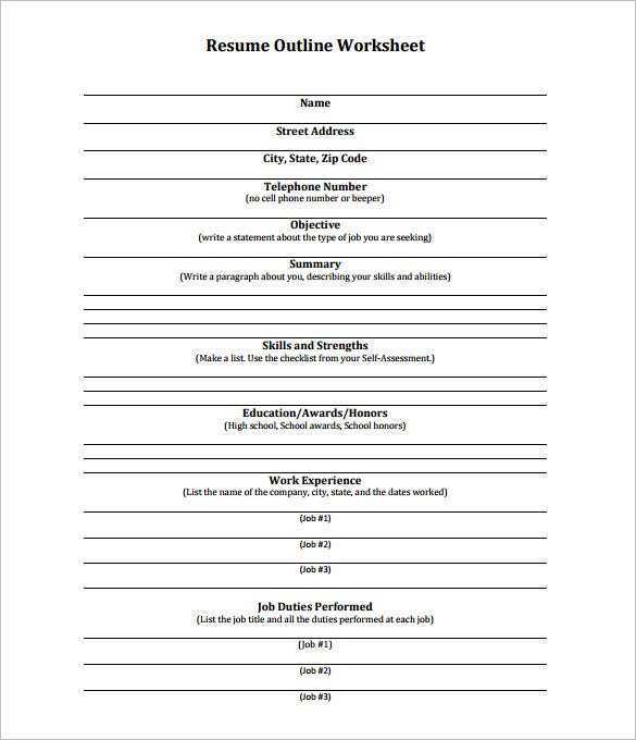 Free Resume Outline Worksheet PDF Format Example  Outline Of A Resume