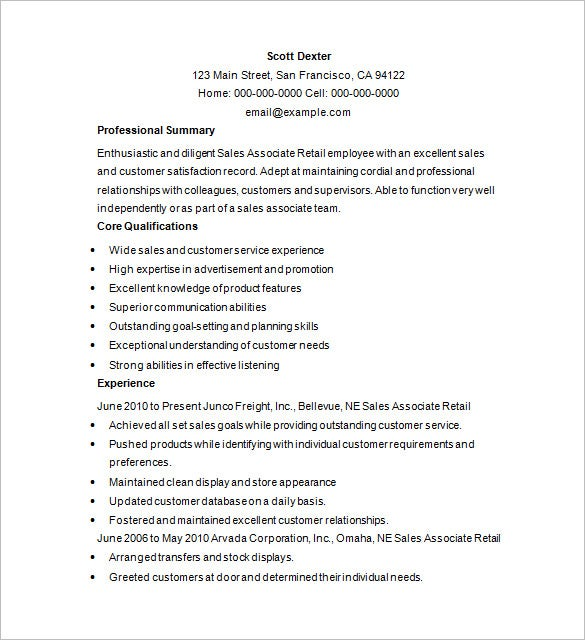 free retail sales resume download - Retail Resume Template