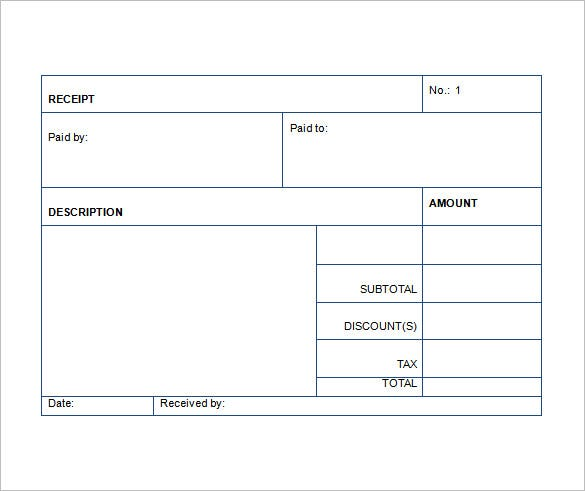 Sales Receipt Template 22 Free Word Excel PDF Format – Reciept Templates