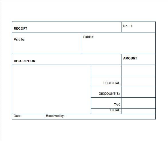 Receipt Template Excel Datariouruguay