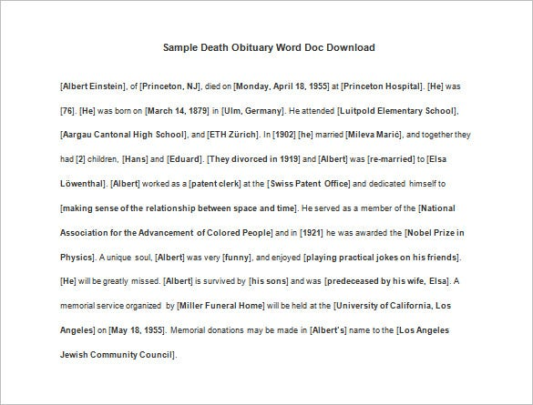 Free Obituary Templates 13 Free Word Excel PDF Format – Death Obituary Template